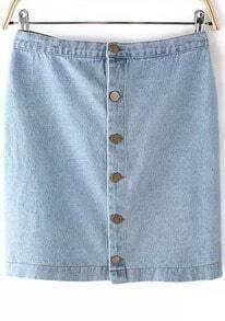 Blue Buttons Bodycon Denim Skirt