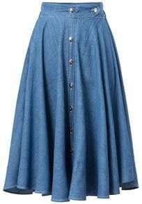 Blue Buttons Pleated Denim Skirt