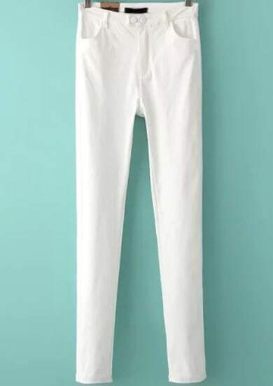 White Buttons Elastic Slim Pant pictures
