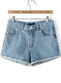 Blue Pockets Flange Denim Shorts