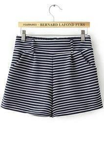 Navy Elastic Waist Striped Casual Shorts