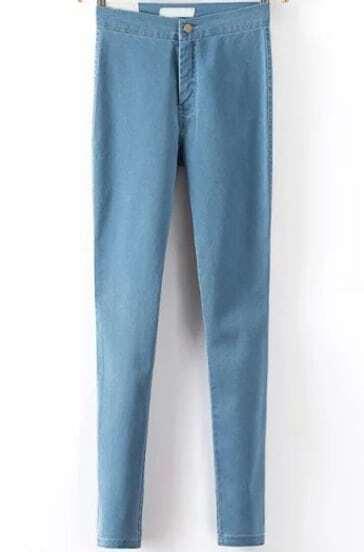 Blue High Waist Elastic Slim Denim Pant