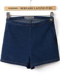 Navy High Waist Skinny Denim Shorts