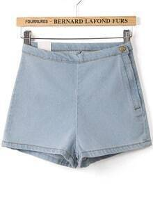Light Blue High Waist Skinny Denim Shorts