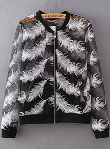 Black Long Sleeve Feather Embroidered Jacket