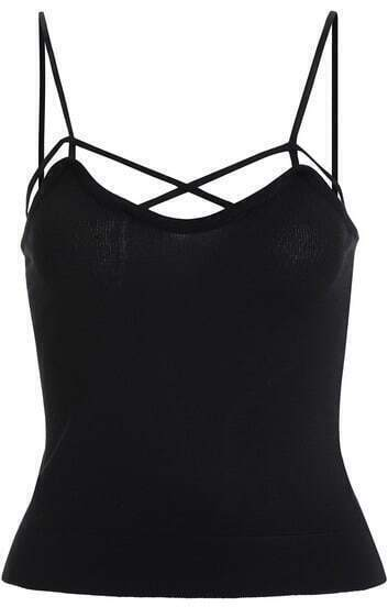 Black Spaghetti Strap Slim Knit Cami Top