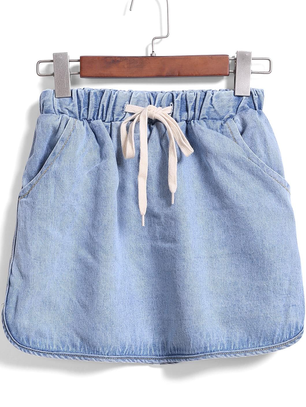 Drawstring Waist Denim Skirt