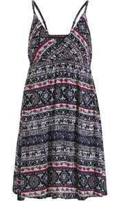 Black Spaghetti Strap Floral Slim Dress