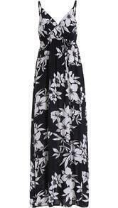 Black Spaghetti Strap Floral Maxi Dress
