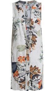 White Deep V Neck Sleeveless Floral Loose Dress