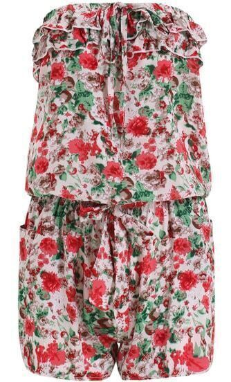 Beige Strapless Floral Ruffle Jumpsuit