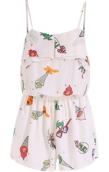 White Spaghetti Strap Ice Cream Print Jumpsuit