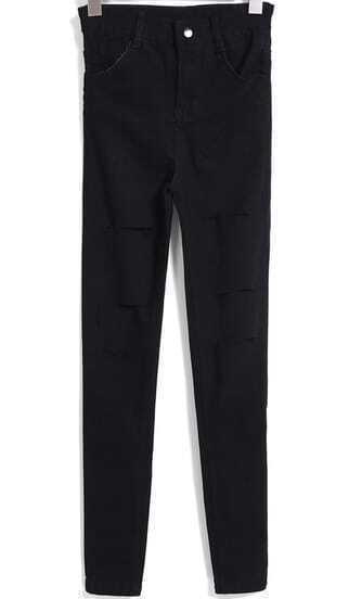 Black Pockets Cut-out Denim Pant