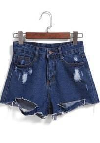 Navy Ripped Pockets Denim Shorts