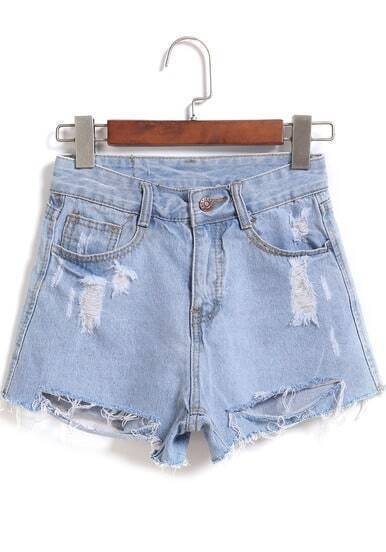 Light Blue Ripped Pockets Denim Shorts