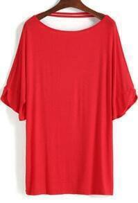 Red Short Sleeve Loose T-Shirt