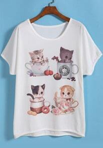 White Short Sleeve Cats Print T-Shirt