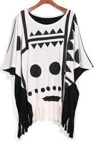 Black White Geometric Print Tassel Loose Blouse