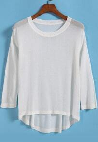 White Long Sleeve Dip Hem Knit Sweater