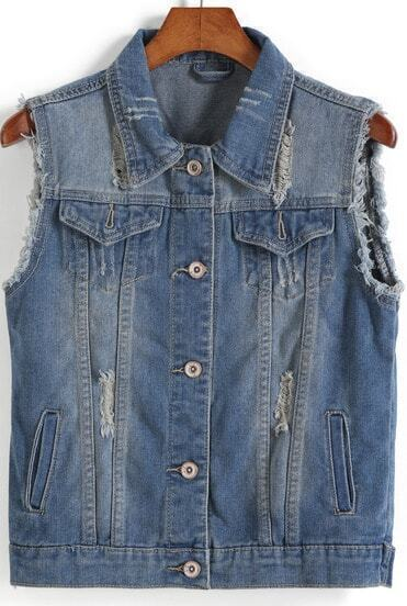 Blue Lapel Sleeveless Vintage Ripped Outerwear