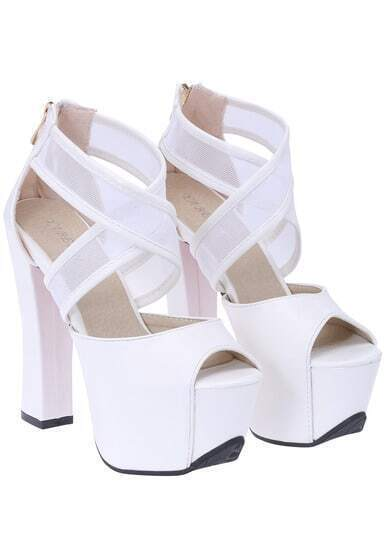 White Back Zipper Mesh High Heeled Peep Toe Pumps