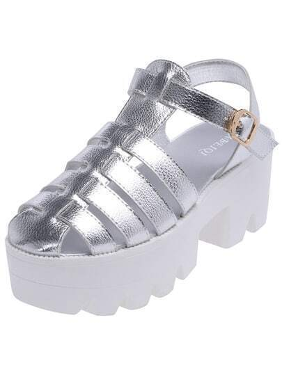 Silver Round Toe Heavy-bottomed Sandals