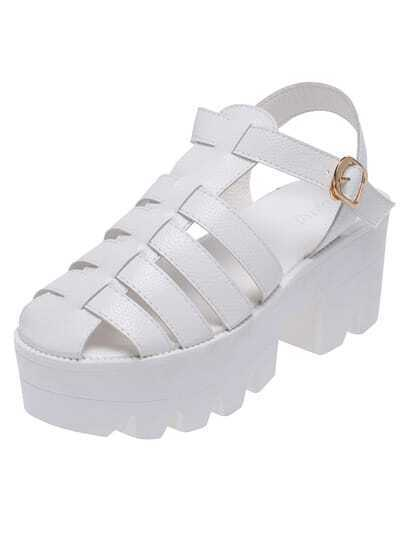 White Round Toe Heavy-bottomed Sandals