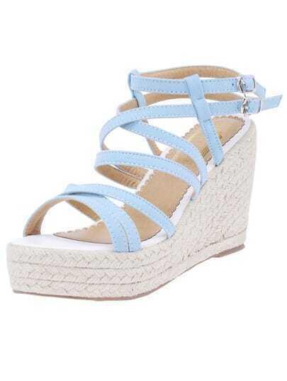 Blue Cross Straps Espadrille Wedges Sandals