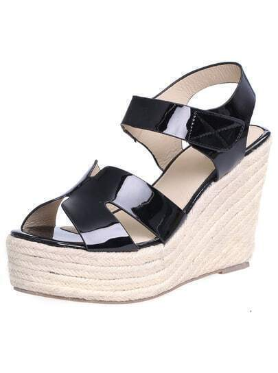 Black Espadrille Wedges Sandals