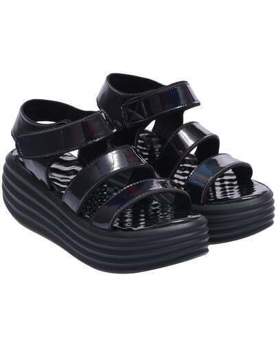 Black Strappy Heavy-bottomed Sandals
