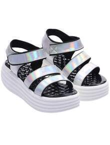 Silver Strappy Heavy-bottomed Sandals