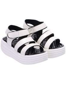 White Strappy Heavy-bottomed Sandals