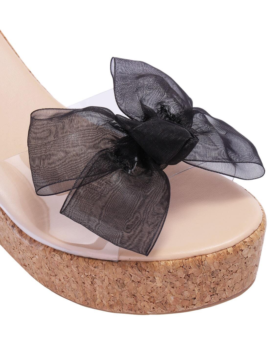 sandale transparent avec n uds noir french shein sheinside. Black Bedroom Furniture Sets. Home Design Ideas