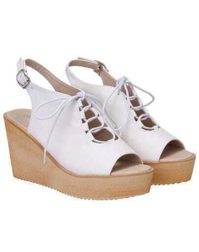 White Lace Up Wedges Sandals