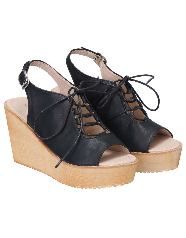 Black Lace Up Wedges Sandals
