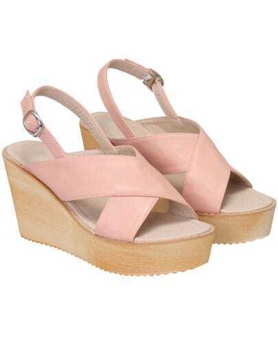 Pink Buckle Strap Wedges Sandals