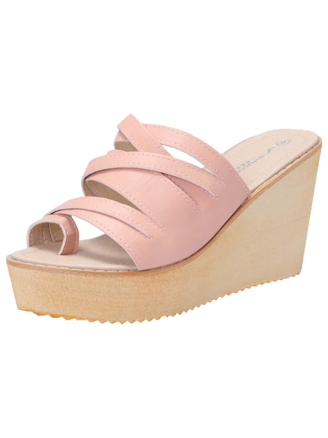 sandalen mit keilabsatz rosa german shein sheinside. Black Bedroom Furniture Sets. Home Design Ideas