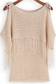 Apricot Off the Shoulder Tassel Knit Sweater