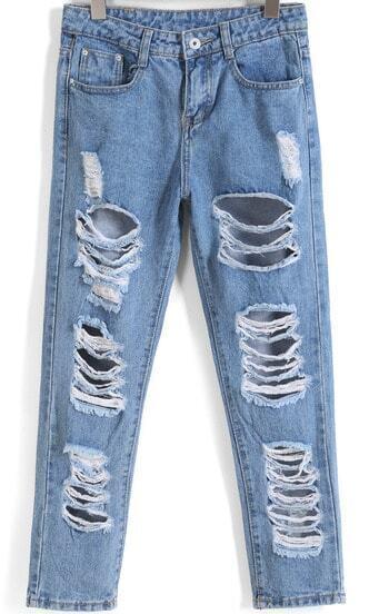 Blue Ripped Pockets Denim Pant