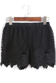 Black Elastic Waist Lace Hollow Shorts