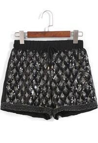 Black Drawstring Waist Bead Chiffon Shorts