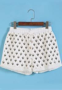 White Drawstring Waist Bead Chiffon Shorts