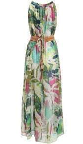 Multicolor Sleeveless Floral Belt Chiffon Maxi Dress