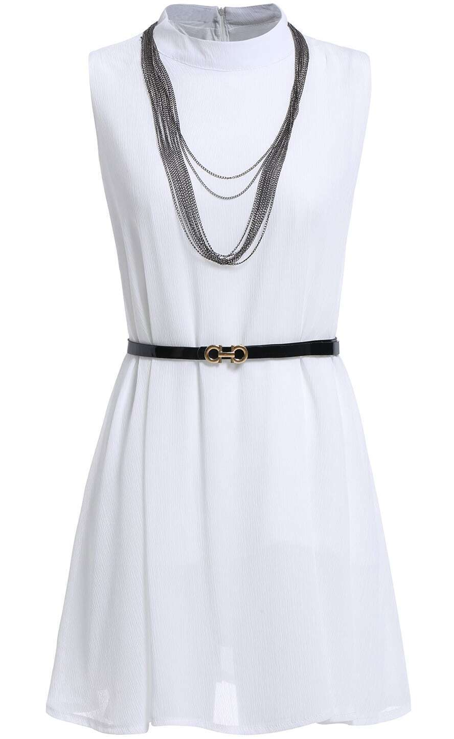 white stand collar chain embellished dress with belt