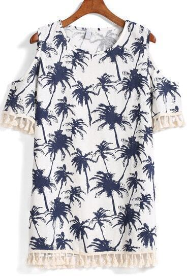 White Off the Shoulder Tassel Tree Print Dress
