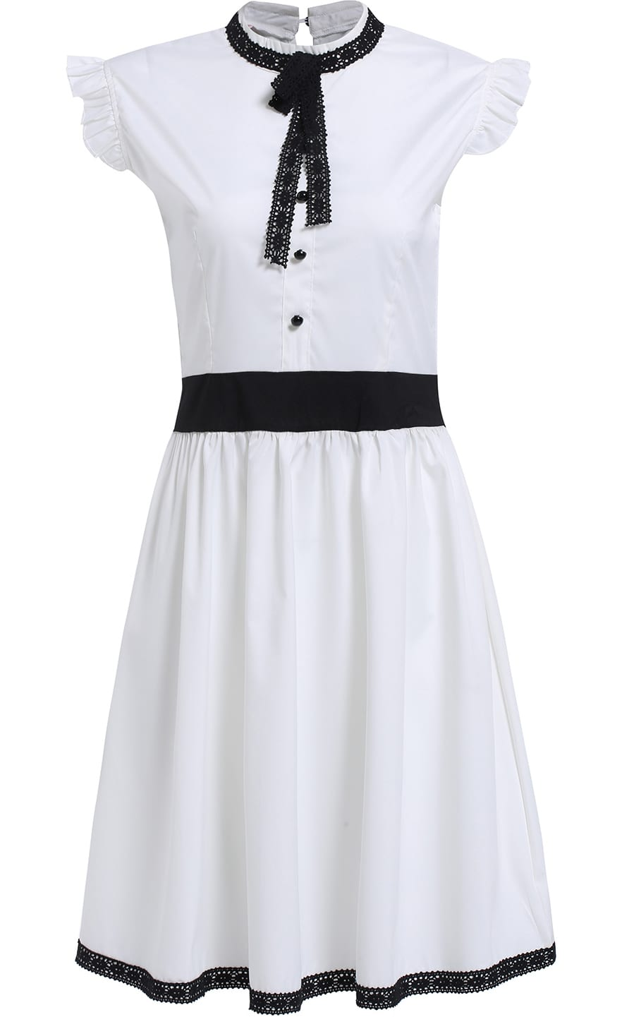 White Peplum Collar Ruffle Flare Dress $14.00 AT vintagedancer.com