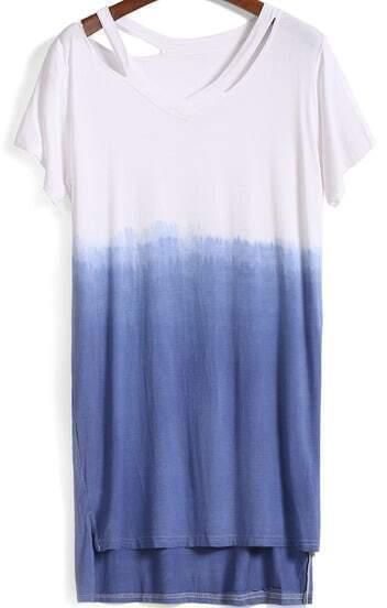 Blue Ombre Short Sleeve High Low Dress