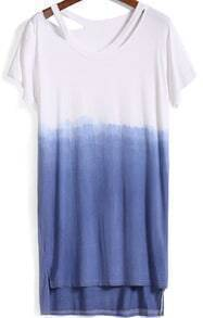 Blue Ombre Short Sleeve High Low Dress