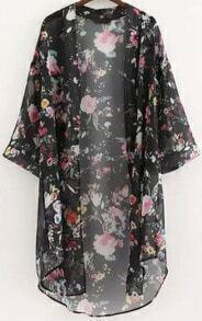 Black Half Sleeve Floral Loose Kimono
