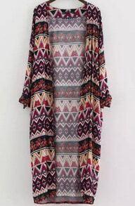 Kimono imprimé zigzag -multicolore